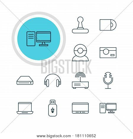 Vector Illustration Of 12 Gadget Icons. Editable Pack Of Dvd Drive, Computer, Monitor And Other Elements.