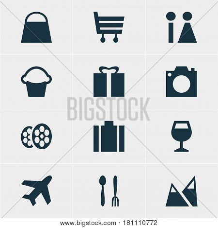 Vector Illustration Of 12 Map Icons. Editable Pack Of Film, Toilet, Cake And Other Elements.