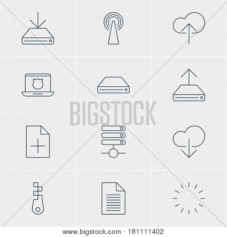 Vector Illustration Of 12 Internet Icons. Editable Pack Of Fastener, Data Upload, Router And Other Elements.