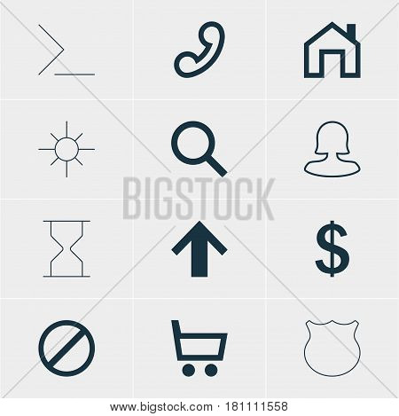 Vector Illustration Of 12 Interface Icons. Editable Pack Of Hourglass, Startup, Seek And Other Elements.