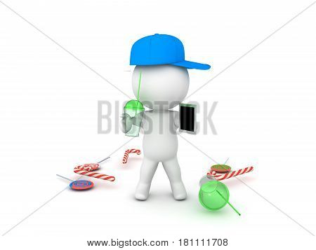 3D illustration depctining teenager with phone and soda in his hands and junk food littered around him.