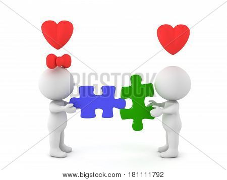 3D Illustration depictiing a compatible romantic couple. This compatibilty is illustrated by two puzzle pieces which fit.