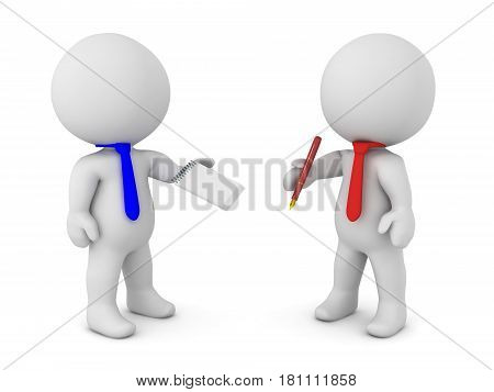 Two 3D Characters coming to a writen agreement. One of them is holding a pen while the other is holding a paper.