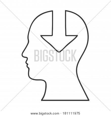 monochrome silhouette of human head with download arrow in mind vector illustration