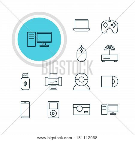 Vector Illustration Of 12 Technology Icons. Editable Pack Of PC, Cursor Controller, Video Chat And Other Elements.