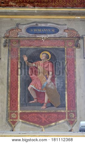 ROME, ITALY - SEPTEMBER 03: Saint Romanus martyr fresco painting in Church of St Lawrence at Lucina, Rome, Italy on September 03, 2016.