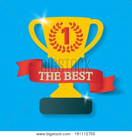 Trophy cup with shadow. Icon gold goblet, medieval goblet with ribbon and text the best. Symbol cup champion on blue background.