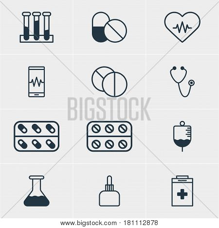 Vector Illustration Of 12 Medical Icons. Editable Pack Of Pills, Experiment Flask, Exigency And Other Elements.