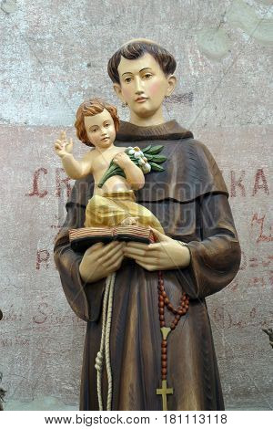 BUCICA, CROATIA - JULY 19: Saint Anthony of Padua statue on the altar in the parish Church of Saint Anthony of Padua in Bucica, Croatia on July 19, 2016