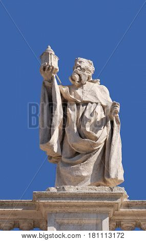 ROME, ITALY - SEPTEMBER 02:  St. Romuald, fragment of colonnade of St. Peters Basilica. Papal Basilica of St. Peter in Vatican, Rome, Italy on September 02, 2016.