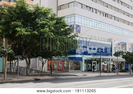 Santa Cruz de Tenerife, Canary Islands, SPAIN Department store Whebe. March 1, 2017. This is one of the important shopping center in Tenerife.