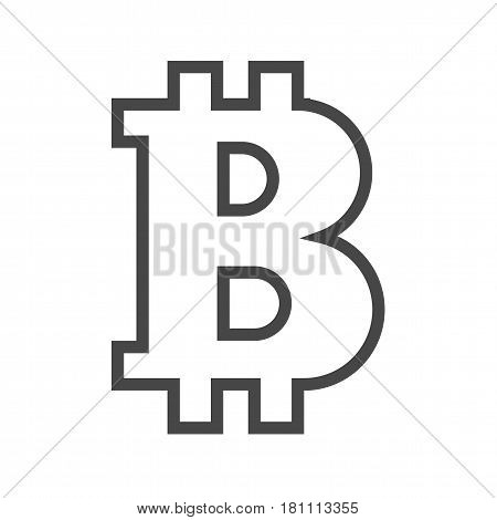 Bitcoin Thin Line Vector Icon. Flat icon isolated on the white background. Editable EPS file. Vector illustration.