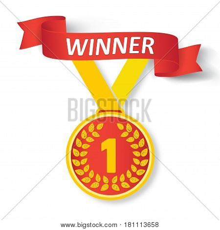 First place award. Gold medal with ribbon and text winner, vector illustration.
