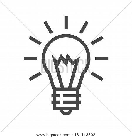 Bulb Thin Line Vector Icon. Flat icon isolated on the white background. Editable EPS file. Vector illustration.