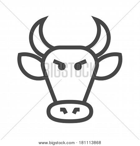 Bull Market Thin Line Vector Icon. Flat icon isolated on the white background. Editable EPS file. Vector illustration.