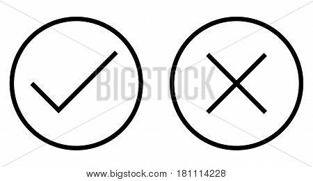 Check and Cross Mark Thin Line Vector Icon. Flat icon isolated on the white background. Editable EPS file. Vector illustration.