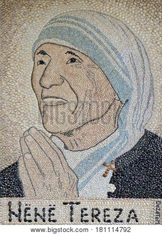 TIRANA, ALBANIA - SEPTEMBER 27: Mother Teresa mosaic in St Paul's Cathedral in Tirana, Albania on September 27, 2016.