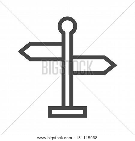 Signpost Thin Line Vector Icon. Flat icon isolated on the white background. Editable EPS file. Vector illustration.