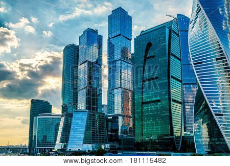 MOSCOW - AUGUST 10, 2016: Skyscrapers of Moscow-City over Moskva River. Moscow-City (Moscow International Business Center) is a modern commercial district in central Moscow.