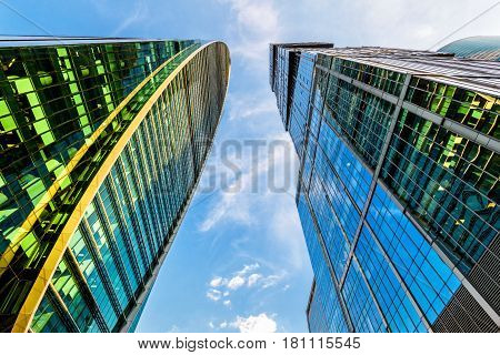 MOSCOW - AUGUST 10, 2016: Bottom view with perspective of Moscow-city skyscrapers (Moscow International Business Center). Moscow-city is a modern commercial district in central Moscow.
