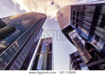 MOSCOW - AUGUST 10, 2016: Futuristic view of Moscow-City skyscrapers. Moscow-City (Moscow International Business Center) is a modern commercial district in central Moscow.