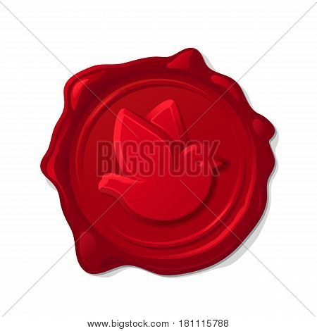 Red wax seal isolated on transparent background. Convex post pigeon