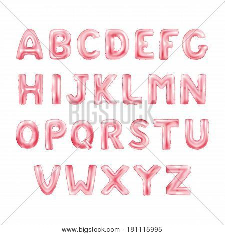 Metallic pink ABC Balloons, red letter alphabeth. pink type Balloons for Text, Letter, new year, holiday, birthday, celebration. red shiny bright font in the air.