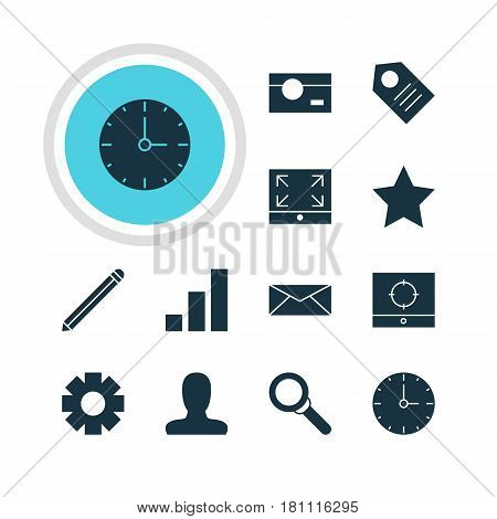 Vector Illustration Of 12 Online Icons. Editable Pack Of Capture, Pen, Account And Other Elements.