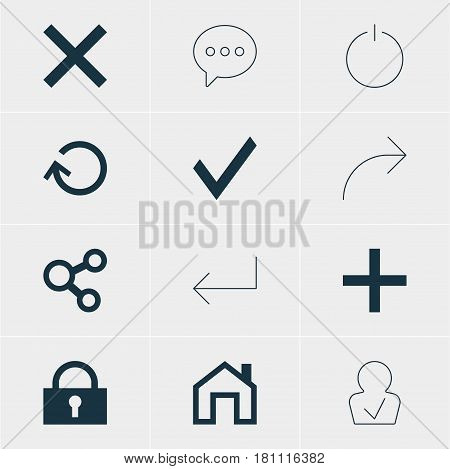 Vector Illustration Of 12 Interface Icons. Editable Pack Of Publish, Mainpage, Renovate And Other Elements.