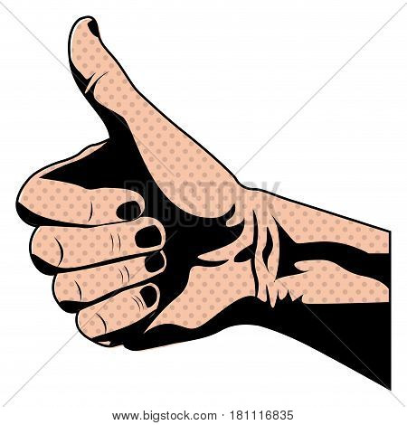silhouette skin color of hand with signal thumb up vector illustration