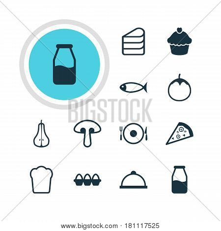 Vector Illustration Of 12 Cuisine Icons. Editable Pack Of Pizzeria, Loaf, Platter And Other Elements.