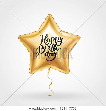 Happy birthday star balloon. Star gold balloon on background. Frosted party balloons for event design. Balloons isolated in the air. Party decorations for birthday, anniversary, celebration.