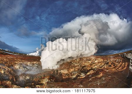 Gunnuhver Hot Springs at Grindavik, Iceland. The mud pools and steam vents on the southwest part of Reykjanes, Iceland.