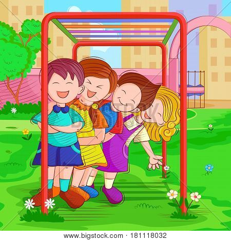 Vector design of kids playing and enjoying in summer vacation