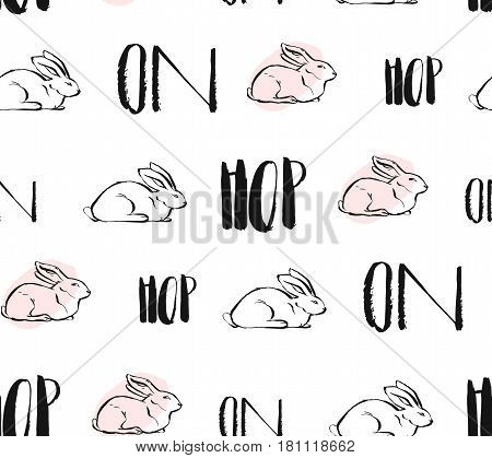 Hand drawn vector abstract creative universal Easter seamless pattern design with white rabbits and hop on quote in pastel colors isolated on white background.Spring unusual graphic decoration.