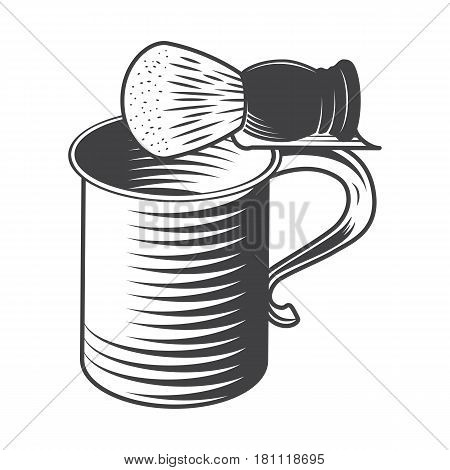 Shaving Mug and Brush Isolated on a White Background. Vector