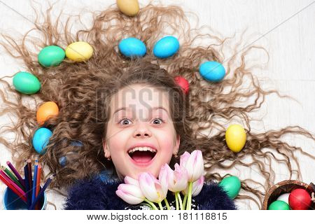 Happy Easter Girl, Colorful Eggs In Long Hair, Tulip Flowers