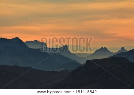 Sunset in the Bernese Oberland Switzerland. View from mount Niesen.