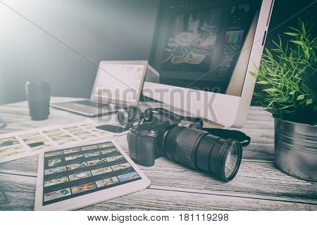 Photographic equipment. Place of work of the photographer.