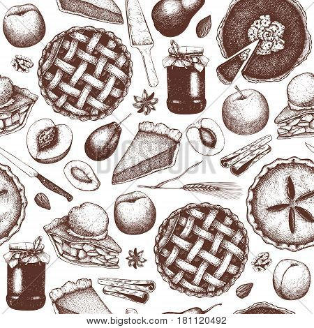 Vintage background with traditional cake, tart and pie sketch. Sweet fruits and berries bakery. Top view. Seamless pattern.