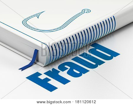 Protection concept: closed book with Blue Fishing Hook icon and text Fraud on floor, white background, 3D rendering