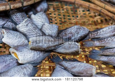 fish preservation Thai food dried Nile tilapia fish.