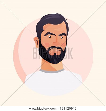 Simple avatar collection. Flat cartoon style faces. Vector illustration