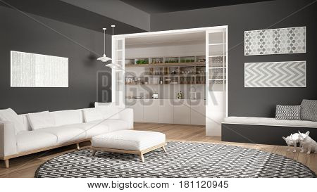 Minimalist living room with sofa big round carpet and kitchen in the background white and gray modern interior design, 3d illustration