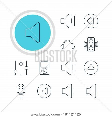 Vector Illustration Of 12 Melody Icons. Editable Pack Of Audio, Decrease Sound, Reversing And Other Elements.