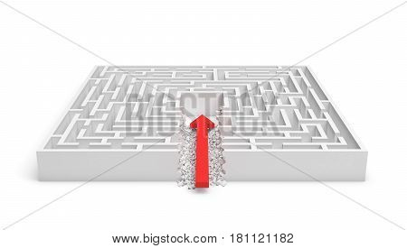 3d rendering of a square maze with a red arrow borrowing to the center isolated on white background. Mazes and labyrinths. Problems and solutions. Unexpected approach and risk.