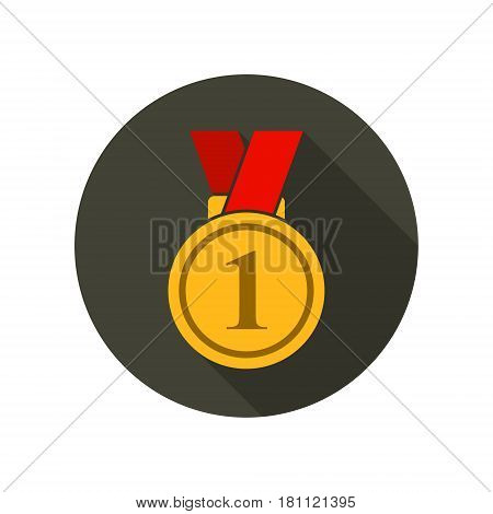 Medal icon vector isolated round symbol with long shadow in flat style.