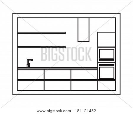 Kitchen interior plan. Draft of modern kitchen furniture made in line art style. Vector isolated.