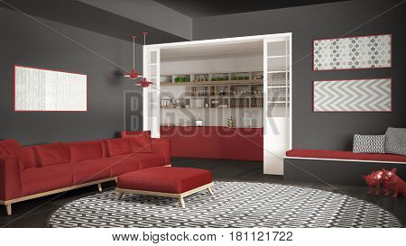 Minimalist living room with sofa big round carpet and kitchen in the background gray and red modern interior design, 3d illustration