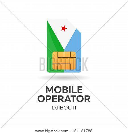 Djibouti Mobile Operator. Sim Card With Flag. Vector Illustration.